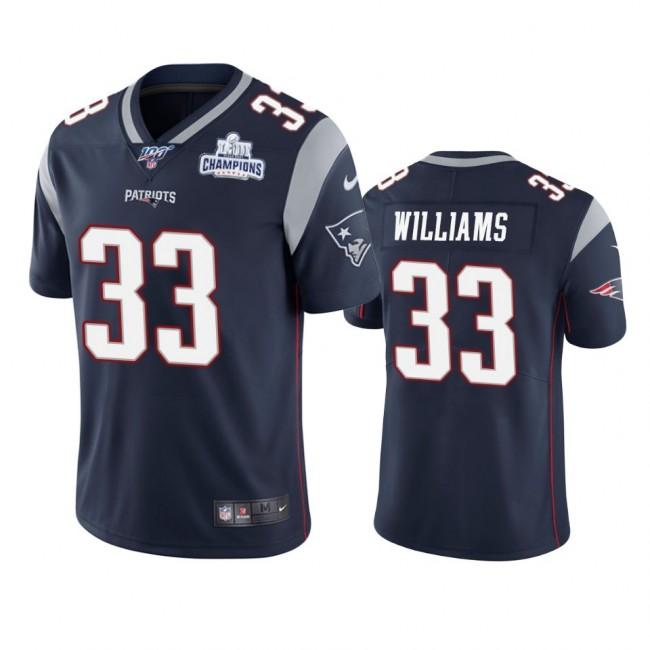 New England Patriots #33 Joejuan Williams Navy Super Bowl LIII Champions Vapor Limited NFL Jersey