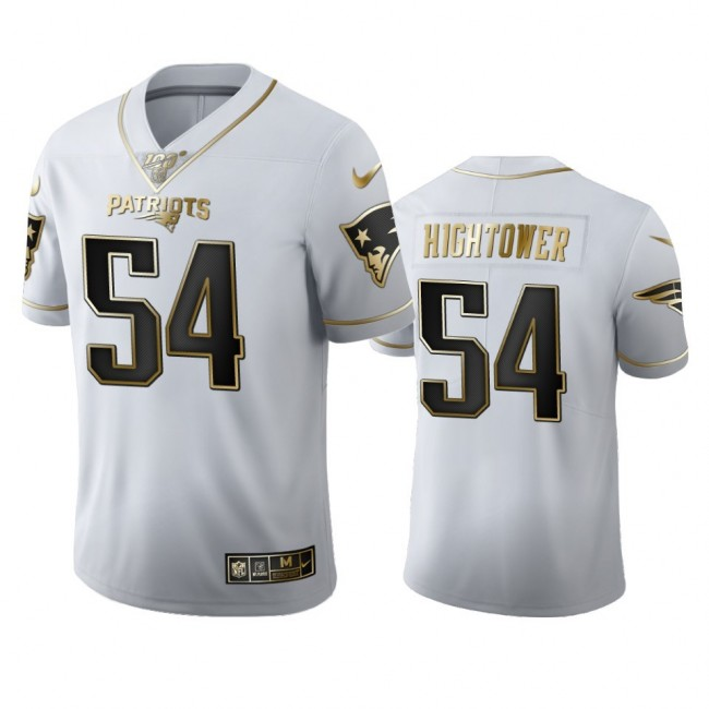 New England Patriots #54 Dont'a Hightower Men's Nike White Golden Edition Vapor Limited NFL 100 Jersey