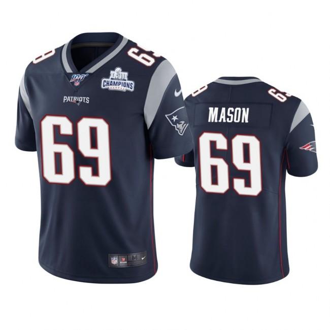 New England Patriots #69 Shaq Mason Navy Super Bowl LIII Champions Vapor Limited NFL Jersey