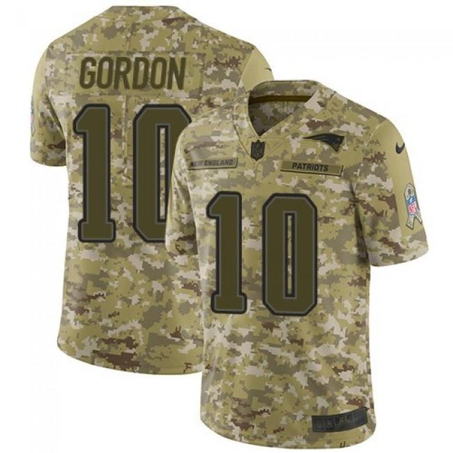 Nike Patriots #10 Josh Gordon Camo Men's Stitched NFL Limited 2018 Salute To Service Jersey