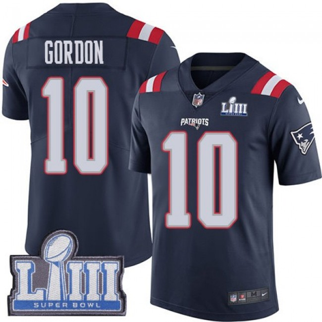 Nike Patriots #10 Josh Gordon Navy Blue Super Bowl LIII Bound Men's Stitched NFL Limited Rush Jersey