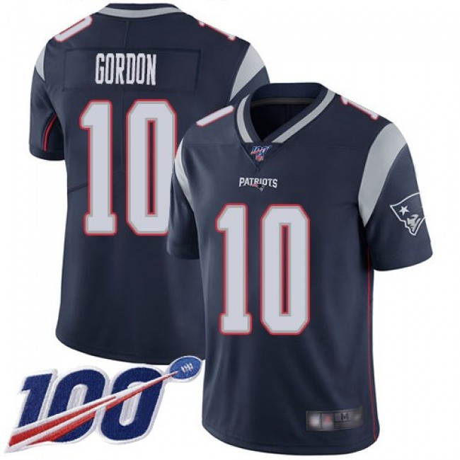 Nike Patriots #10 Josh Gordon Navy Blue Team Color Men's Stitched NFL 100th Season Vapor Limited Jersey