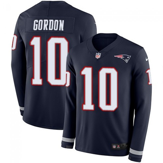 Nike Patriots #10 Josh Gordon Navy Blue Team Color Men's Stitched NFL Limited Therma Long Sleeve Jersey