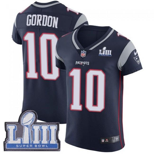 Nike Patriots #10 Josh Gordon Navy Blue Team Color Super Bowl LIII Bound Men's Stitched NFL Vapor Untouchable Elite Jersey