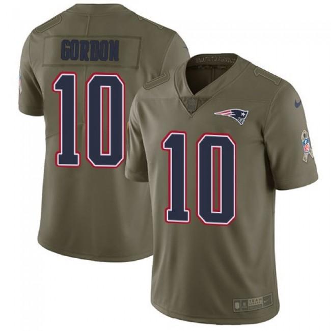 Nike Patriots #10 Josh Gordon Olive Men's Stitched NFL Limited 2017 Salute To Service Jersey