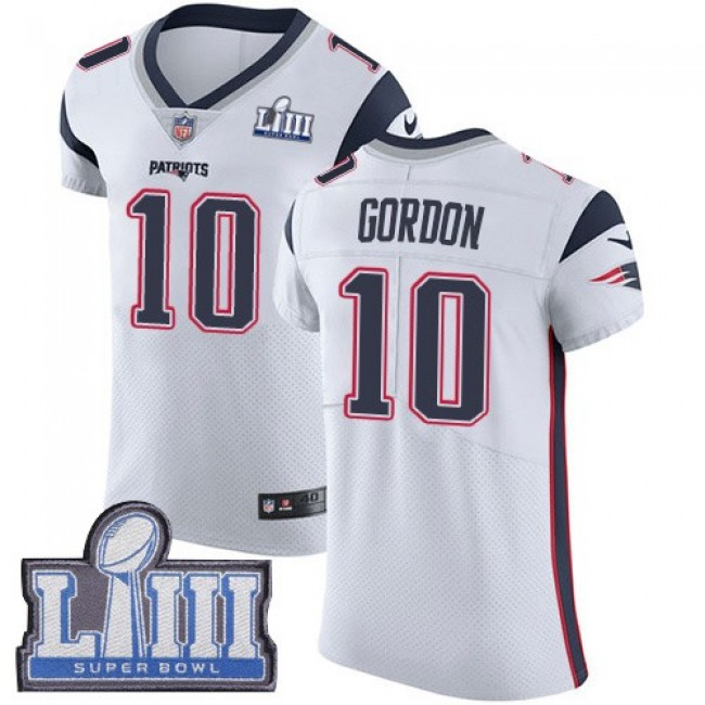 Nike Patriots #10 Josh Gordon White Super Bowl LIII Bound Men's Stitched NFL Vapor Untouchable Elite Jersey