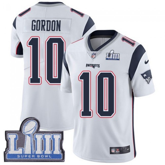 Nike Patriots #10 Josh Gordon White Super Bowl LIII Bound Men's Stitched NFL Vapor Untouchable Limited Jersey