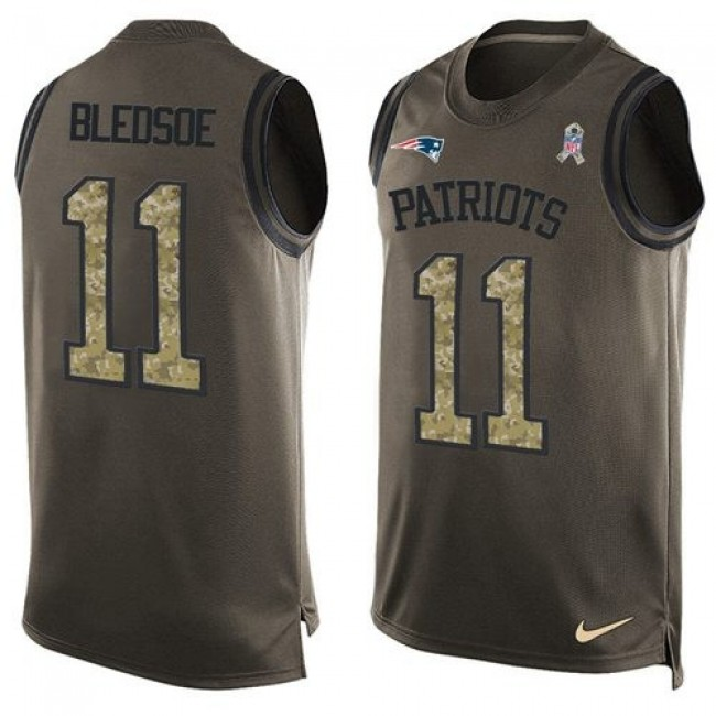 Nike Patriots #11 Drew Bledsoe Green Men's Stitched NFL Limited Salute To Service Tank Top Jersey