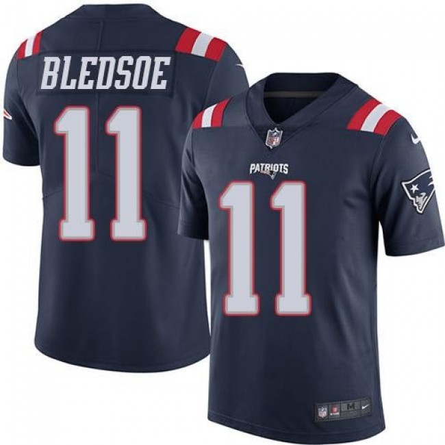 Nike Patriots #11 Drew Bledsoe Navy Blue Men's Stitched NFL Limited Rush Jersey