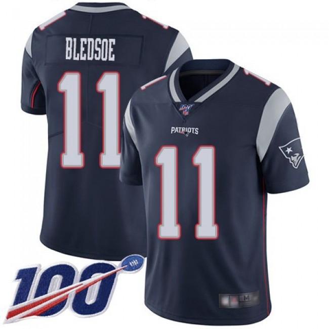 Nike Patriots #11 Drew Bledsoe Navy Blue Team Color Men's Stitched NFL 100th Season Vapor Limited Jersey