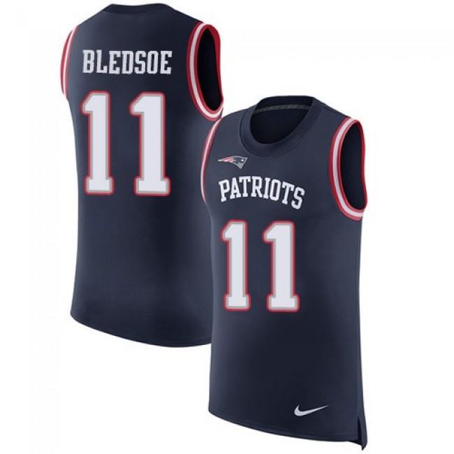 Nike Patriots #11 Drew Bledsoe Navy Blue Team Color Men's Stitched NFL Limited Rush Tank Top Jersey