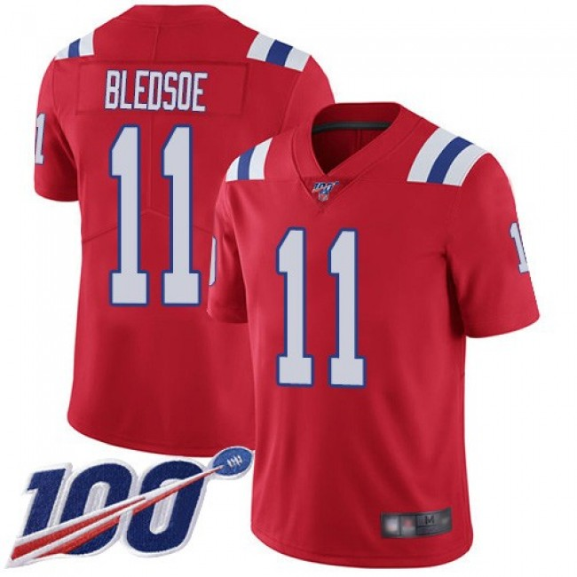 Nike Patriots #11 Drew Bledsoe Red Alternate Men's Stitched NFL 100th Season Vapor Limited Jersey