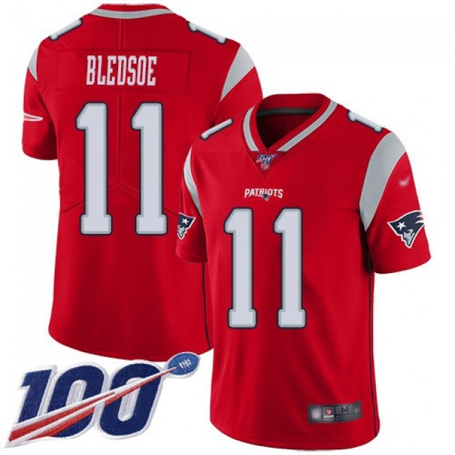 Nike Patriots #11 Drew Bledsoe Red Men's Stitched NFL Limited Inverted Legend 100th Season Jersey