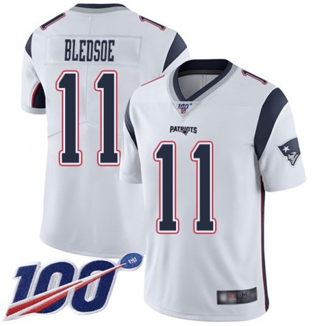 Nike Patriots #11 Drew Bledsoe White Men's Stitched NFL 100th Season Vapor Limited Jersey