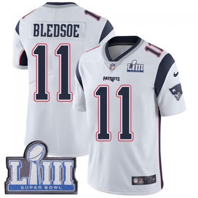 Nike Patriots #11 Drew Bledsoe White Super Bowl LIII Bound Men's Stitched NFL Vapor Untouchable Limited Jersey