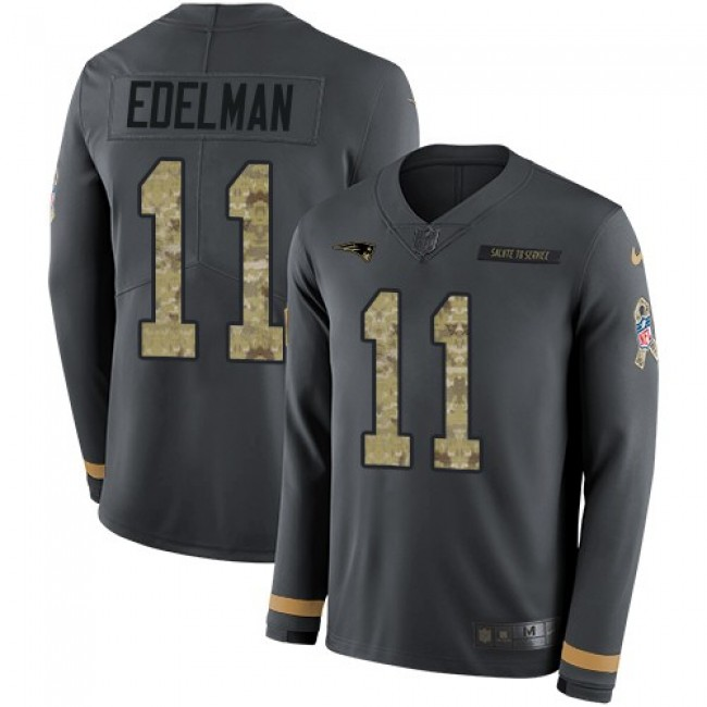 Nike Patriots #11 Julian Edelman Anthracite Salute to Service Men's Stitched NFL Limited Therma Long Sleeve Jersey