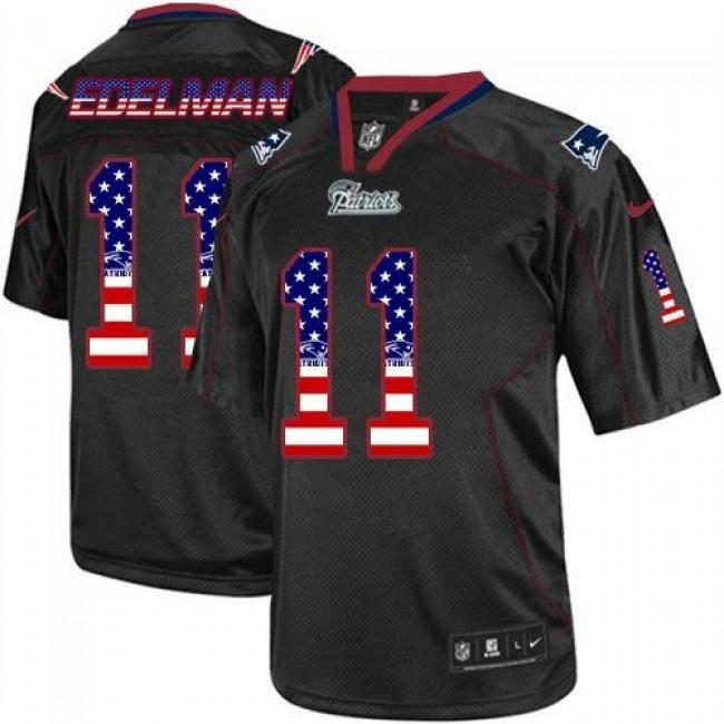 Nike Patriots #11 Julian Edelman Black Men's Stitched NFL Elite USA Flag Fashion Jersey