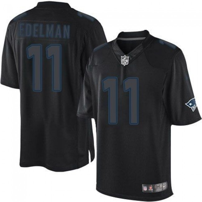 Nike Patriots #11 Julian Edelman Black Men's Stitched NFL Impact Limited Jersey