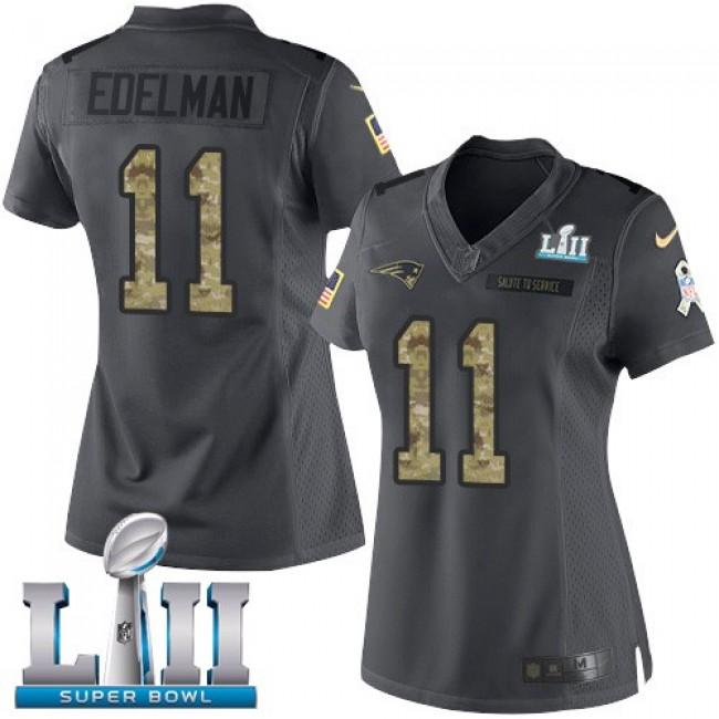 Women's Patriots #11 Julian Edelman Black Super Bowl LII Stitched NFL Limited 2016 Salute to Service Jersey