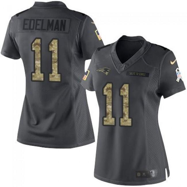 Women's Patriots #11 Julian Edelman Black Stitched NFL Limited 2016 Salute to Service Jersey