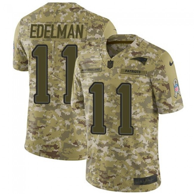 Nike Patriots #11 Julian Edelman Camo Men's Stitched NFL Limited 2018 Salute To Service Jersey