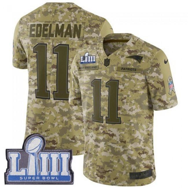 Nike Patriots #11 Julian Edelman Camo Super Bowl LIII Bound Men's Stitched NFL Limited 2018 Salute To Service Jersey