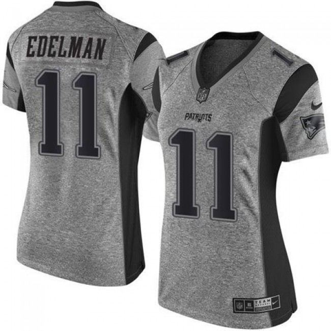 Women's Patriots #11 Julian Edelman Gray Stitched NFL Limited Gridiron Gray Jersey