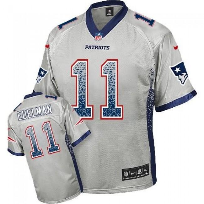 Nike Patriots #11 Julian Edelman Grey Men's Stitched NFL Elite Drift Fashion Jersey