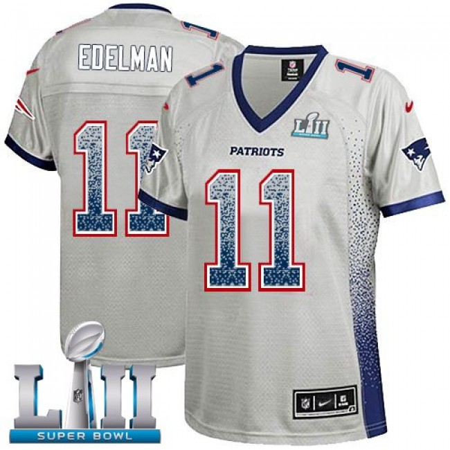 Women's Patriots #11 Julian Edelman Grey Super Bowl LII Stitched NFL Elite Drift Jersey