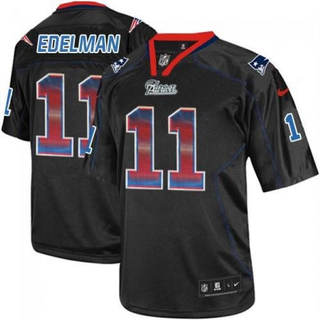 Nike Patriots #11 Julian Edelman Lights Out Black Men's Stitched NFL Elite Strobe Jersey