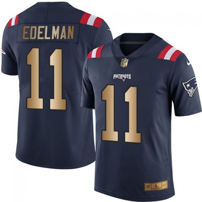 Nike Patriots #11 Julian Edelman Navy Blue Men's Stitched NFL Limited Gold Rush Jersey