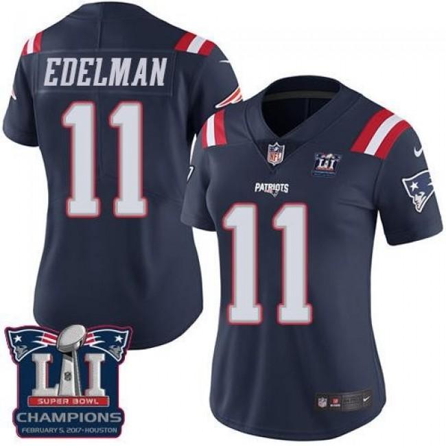 Women's Patriots #11 Julian Edelman Navy Blue Super Bowl LI Champions Stitched NFL Limited Rush Jersey