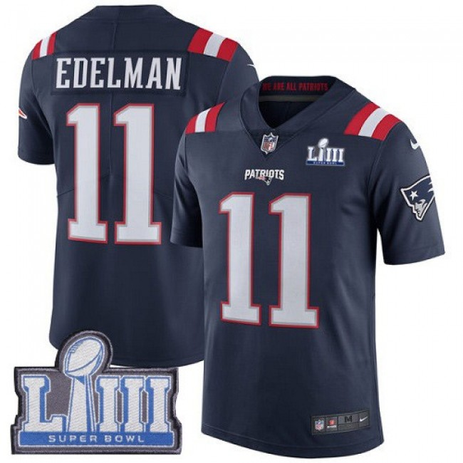 Nike Patriots #11 Julian Edelman Navy Blue Super Bowl LIII Bound Men's Stitched NFL Limited Rush Jersey