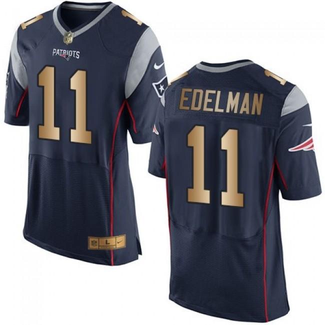 Nike Patriots #11 Julian Edelman Navy Blue Team Color Men's Stitched NFL New Elite Gold Jersey