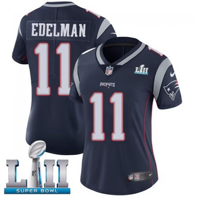 Women's Patriots #11 Julian Edelman Navy Blue Team Color Super Bowl LII Stitched NFL Vapor Untouchable Limited Jersey