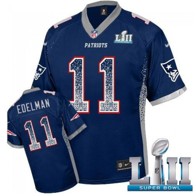 New England Patriots #11 Julian Edelman Navy Blue Team Color Super Bowl LII Youth Stitched NFL Elite Drift Fashion Jersey