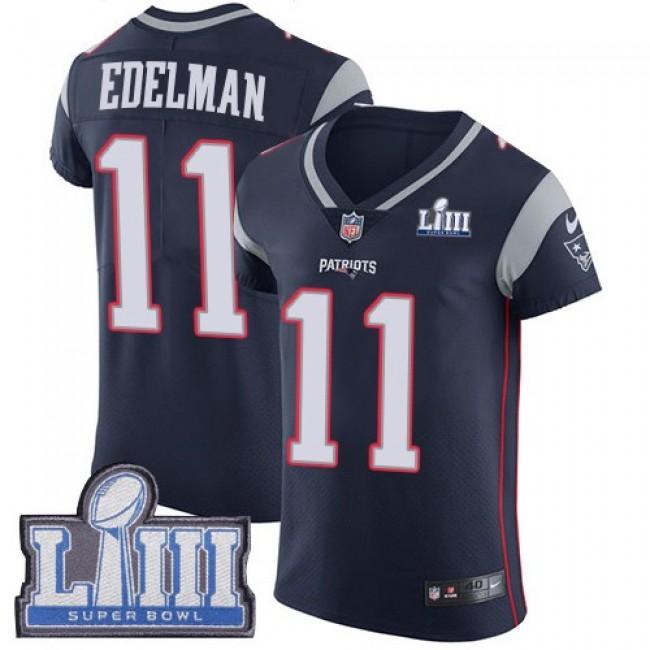Nike Patriots #11 Julian Edelman Navy Blue Team Color Super Bowl LIII Bound Men's Stitched NFL Vapor Untouchable Elite Jersey