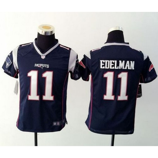 New England Patriots #11 Julian Edelman Navy Blue Team Color Youth Stitched NFL New Elite Jersey