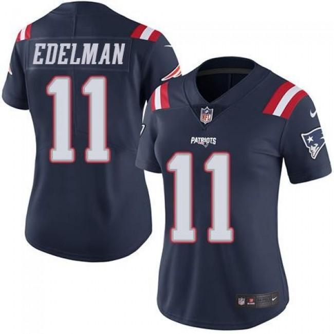 Women's Patriots #11 Julian Edelman Navy Blue Stitched NFL Limited Rush Jersey