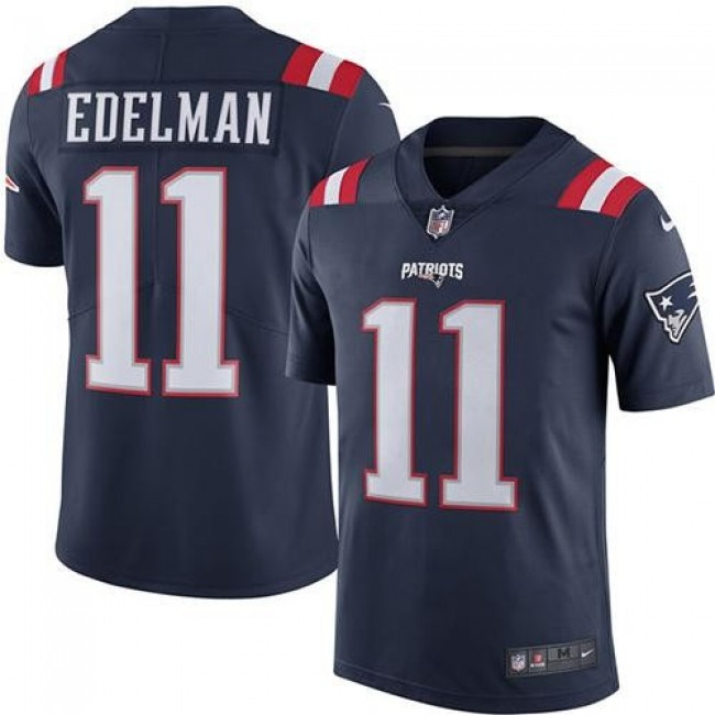 New England Patriots #11 Julian Edelman Navy Blue Youth Stitched NFL Limited Rush Jersey