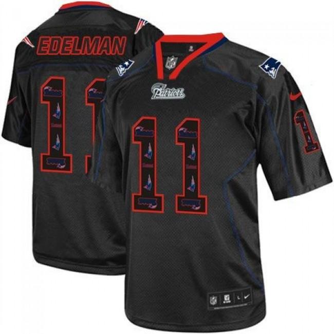 Nike Patriots #11 Julian Edelman New Lights Out Black Men's Stitched NFL Elite Jersey