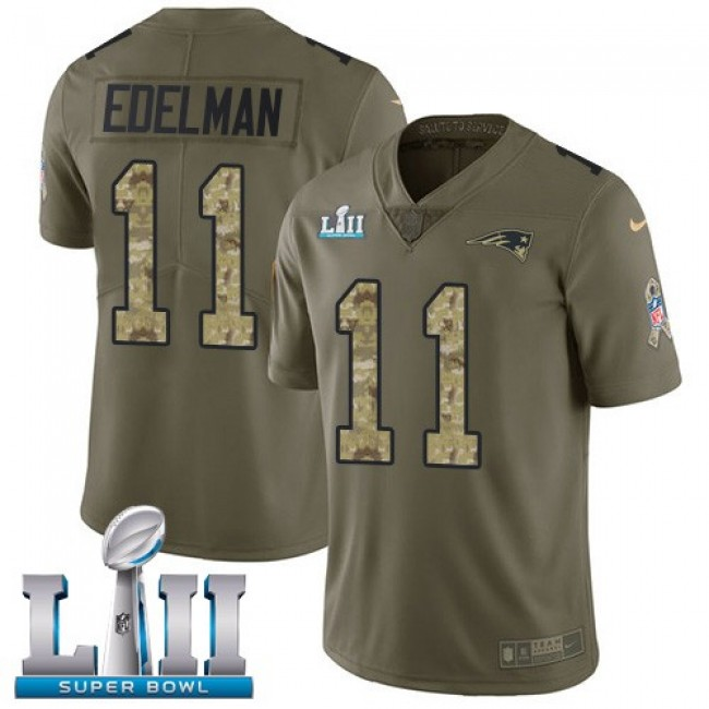 New England Patriots #11 Julian Edelman Olive-Camo Super Bowl LII Youth Stitched NFL Limited 2017 Salute to Service Jersey