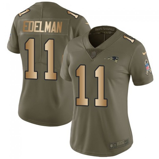 Women's Patriots #11 Julian Edelman Olive Gold Stitched NFL Limited 2017 Salute to Service Jersey