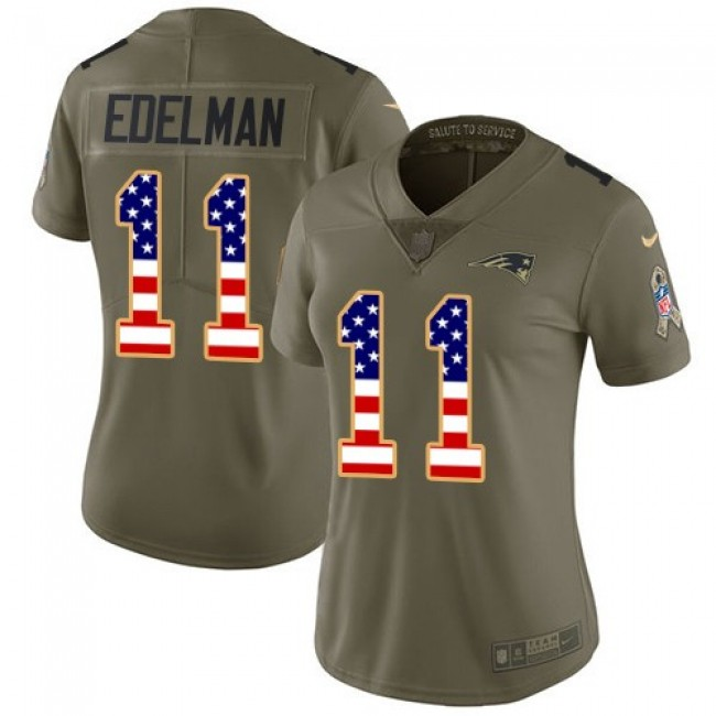 Women's Patriots #11 Julian Edelman Olive USA Flag Stitched NFL Limited 2017 Salute to Service Jersey