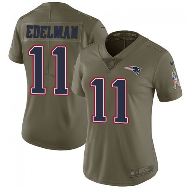 Women's Patriots #11 Julian Edelman Olive Stitched NFL Limited 2017 Salute to Service Jersey