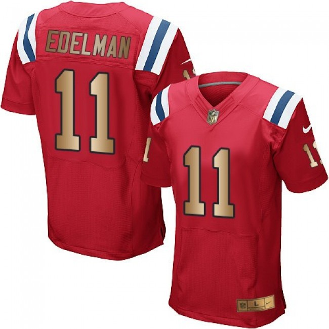 Nike Patriots #11 Julian Edelman Red Alternate Men's Stitched NFL Elite Gold Jersey
