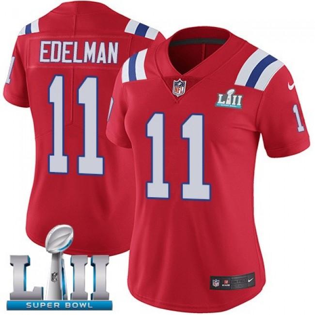 Women's Patriots #11 Julian Edelman Red Alternate Super Bowl LII Stitched NFL Vapor Untouchable Limited Jersey
