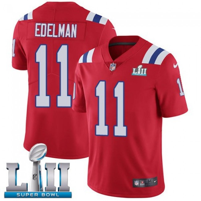New England Patriots #11 Julian Edelman Red Alternate Super Bowl LII Youth Stitched NFL Vapor Untouchable Limited Jersey