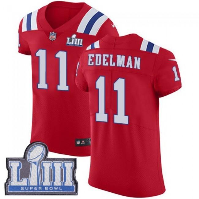 Nike Patriots #11 Julian Edelman Red Alternate Super Bowl LIII Bound Men's Stitched NFL Vapor Untouchable Elite Jersey