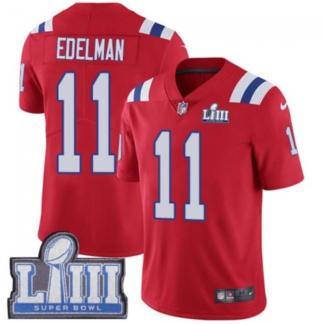 Nike Patriots #11 Julian Edelman Red Alternate Super Bowl LIII Bound Men's Stitched NFL Vapor Untouchable Limited Jersey